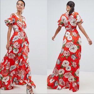 ASOS Orange Floral Ruffle Maxi Wrap Dress